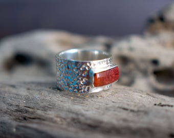 Red rhodochrosite ring, large ring, thumb ring, UK size V ring, US size 10 1/2 ring, No 23 1/2 size ring