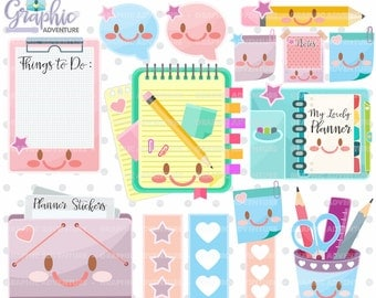 Planner Clipart, Planner Graphics, COMMERCIAL USE, Kawaii Clipart, Planner Icons, Planning Clipart, Planner Accessories, Planner Elements