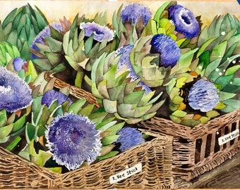 Artichoke in Basket Painting (print)