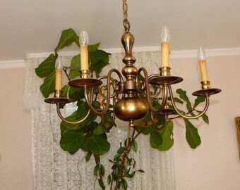 The 50s, antiik brass chandelier