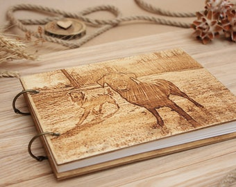 Wood Photo album,Guestbook,Photoalbum, Dog Photo album, Wedding album,  Customized Wedding Guest book, Personalized engraved text