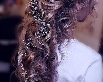 Extra long hair vine.wedding hair vine.long hair vine.hair vine.babys breath hair piece.crystal hair vine.bridal hair vine.wedding hair vine