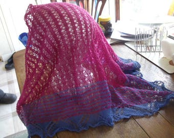 Hand knitted lace shawlette
