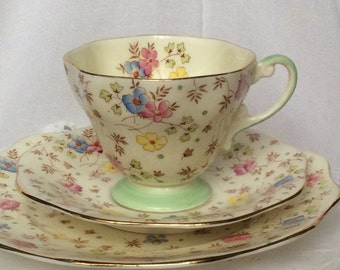 Rare EB Foley English Floral Fine Bone China Tea Cup,saucer,tea plate trio Antique Tea Cup Gift-Afternoon Tea-Mothers Day Gift-Bridal Shower