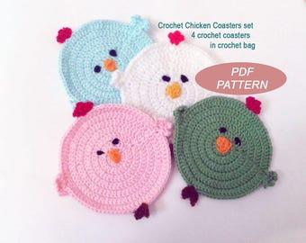 Crochet Chicken Coasters, PDF Pattern, diy crochet coaster pattern