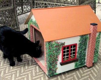 "Small dog house, Cat house/Cottage 18 Tall x 16"" wide X 19"" Deep 10"" X 11"" doorway"