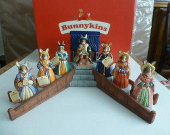 The Complete Royal Doulton Bunnykins King Henry VIII and his Six Wives with Stand
