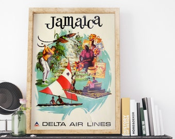 Jamaica by Delta Airlines Tourism 1974 by Sweney Vintage Jamaica Travel Poster Art Print