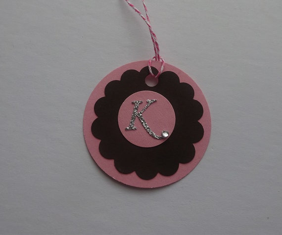 Handmade Personalized Circle Gift Tags - Pink & Brown Circle Tag with Initial Letter - 2H