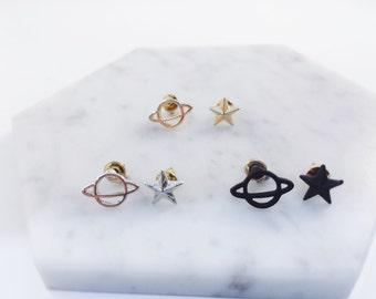 Space x star earrings; Saturn pierce; star pierce; minimalist earrings