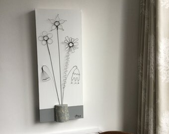Wire flowers and distressed driftwood on canvas. Wall art. 3D. Contemporary. Flowers. Vase of Flowers. Driftwood. Wire Art. Driftwood Art.
