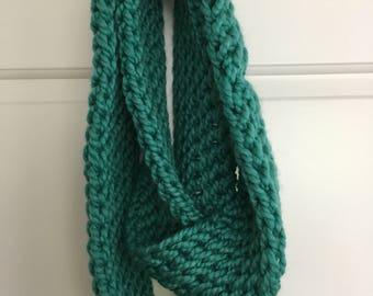 Handmade Crochet Teal Infinity Scarf
