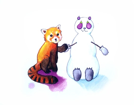 The curious red panda and his snowman friend big illustration