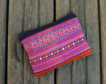 Upcycled Hmong embroidered purse, make-up bag, pencil case, coin purse, cross stitch, vintage Hmong textile, handmade gifts, gifts for her