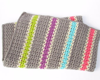 Crocheted Baby Blanket in Bright Colors-Crocheted Throw, Multi-Colored Stripes