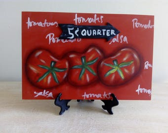 Beautiful farm fresh, hand-painted, decorative picture reason tomatoes