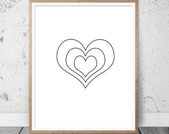 Valentines Day decor, valentines day printable, valentines day gift, love wall art, modern wall art, minimalist wall art, wall art printable