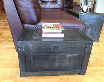 Newport Steamer Trunk Wood Storage Wooden Treasure Chest - Gray