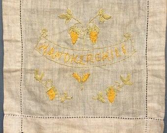 Irish Linen Hand Embroidered Handkerchief Holder