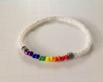 LGBT Gay Bracelet Rainbow Beaded White Stretch Bracelet Pride Jewelry Lesbian