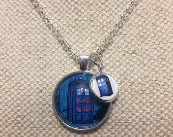 Bad Wolf Necklace, Doctor Who inpsired jewellery, Rose Tyler Pendant, TARDIS necklace, Geeky Gifts