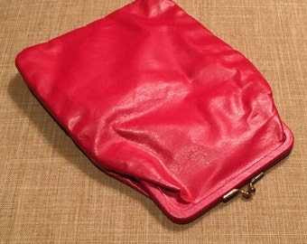 Vintage 60's Mini Leather Clutch/Pouch with Attached Coin Purse, Red Genuine Leather by Budd Leather Creations, Holiday Leather Clutch