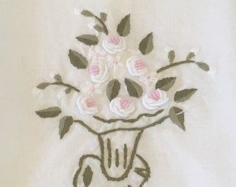 Vintage White and Pink Floral Embroidered Hand Towel, White Embroidered Hand Towel, Embroidered Floral Vase, Cotton Hand Towel