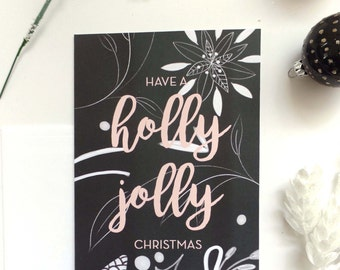 Christmas Greeting Card Set, Illustrated Christmas Cards, Holiday Greeting Card Set, Christmas Stationary, Floral Xmas Cards, Xmas Card Set