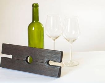 Weathered wood wine display