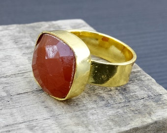 Natural red onyx ring | Gold plated gemstone ring | Square shape stone ring | Bezel Setting cushion cut ring | Handcrafted gift rings | R2