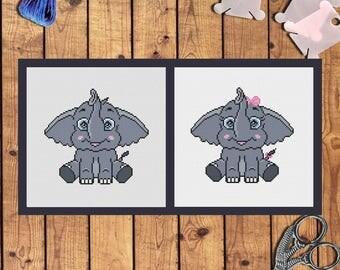 Baby boy and baby girl elephant cross stitch pattern pdf /set of 2/ Elephant embroidery hoop art Cartoon Disney nursery art