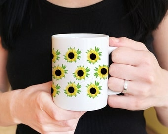 Sunflower Mug Custom Coffee Mug Gift - Watercolor Floral Mug - Ceramic Coffee Mug - Cottage Kitchen Sunflower Gift - Tea Mug Gift for Her