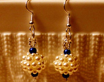 Cute pearl beaded handmade ball dangling earrings; beadweaving, handmade, dangle and drop