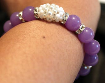 Cute Purple jade & Pearl-beaded shamballa bracelet; beadweaving, handmade, beautiful, casual wear, party-wear