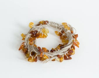 Natural Wrap Drop Dangle Linen Bracelet with Extra Baltic Amber