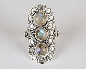 Labradorite Ring, Natural Labradorite Gemstone Handmade Ring, Healing Ring, 925 Sterling Silver Ring, Labradorite Jewelry, Boho Ring