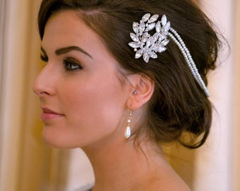 Sparkly Glamorous Bridal Drape Double Hair Comb Vine Forehead Band
