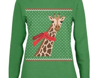 Big Giraffe Scarf Ugly Christmas Sweater Womens Long Sleeve T Shirt