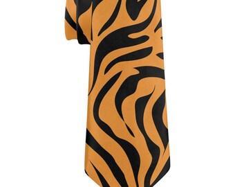 Orange Zebra Stripes All Over Neck Tie
