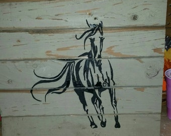 Horse Silhouette, Horse Painting, Hand Painted