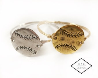 Baseball Wire Wrapped Bangle