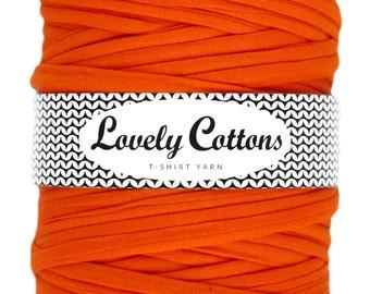 Orange T-shirt yarn, recycled cotton trapillo 131yd (120m) yarn for knittig, crocheting