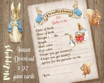 Peter Rabbit Baby Predictions INSTANT DOWNLOAD Baby shower game