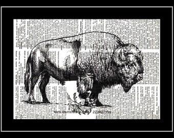 308 Buffalo Vintage Print Paper Picture
