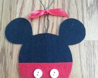Ornament, Mickey Mouse, Handmade, Gift Idea, Decoration, Gift Tag, Hanging Ornament, Felt Ornament, Teacher Gift, Child's Ornament