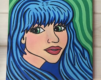 Girl Painting - Blue Envy Acrylic Painting - Girl Cartoon Painting - Anime Girl