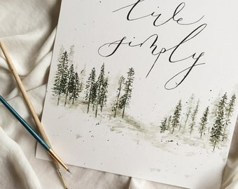 Forest trees watercolor calligraphy print