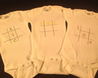 Blessing gift miracle triplet baby onesies set unisex for boy tic tac toe baby onesies triplet set cute customized personalized funny unique baby shower gift negle Images