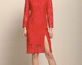 Red lace crew neck sheer sleeves dress with  front slit - - EC  118