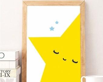 SALE - Nursery Printable, nursery art, Printable Nursery Art, Nursery Instant Download, SLEEPY STAR,  Yellow nursery print, star nursery art